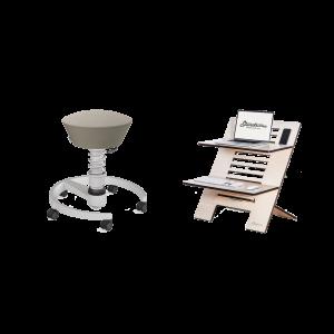 Ergonomischer Sitzhocker mit nachhaltigem Laptopständer